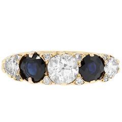 0.50 Carat Diamond Sapphire Yellow Gold Ring