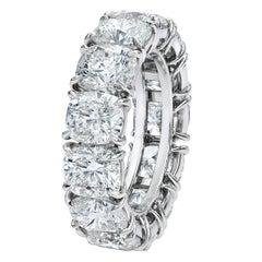 Roman Malakov 13.47 Carat Cushion Diamond Platinum Eternity Wedding Band