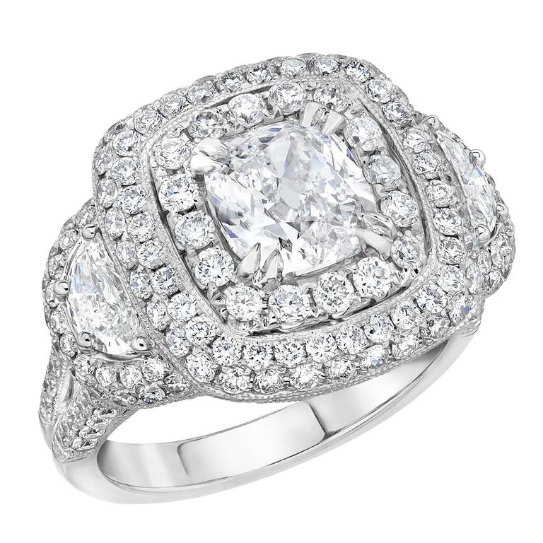 GIA Certified Cushion Diamond Gold Engagement Ring