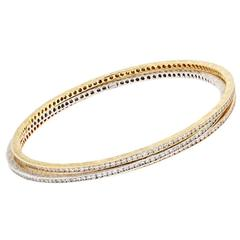 4.50 Carat Diamond Tri-Color Gold Bangles