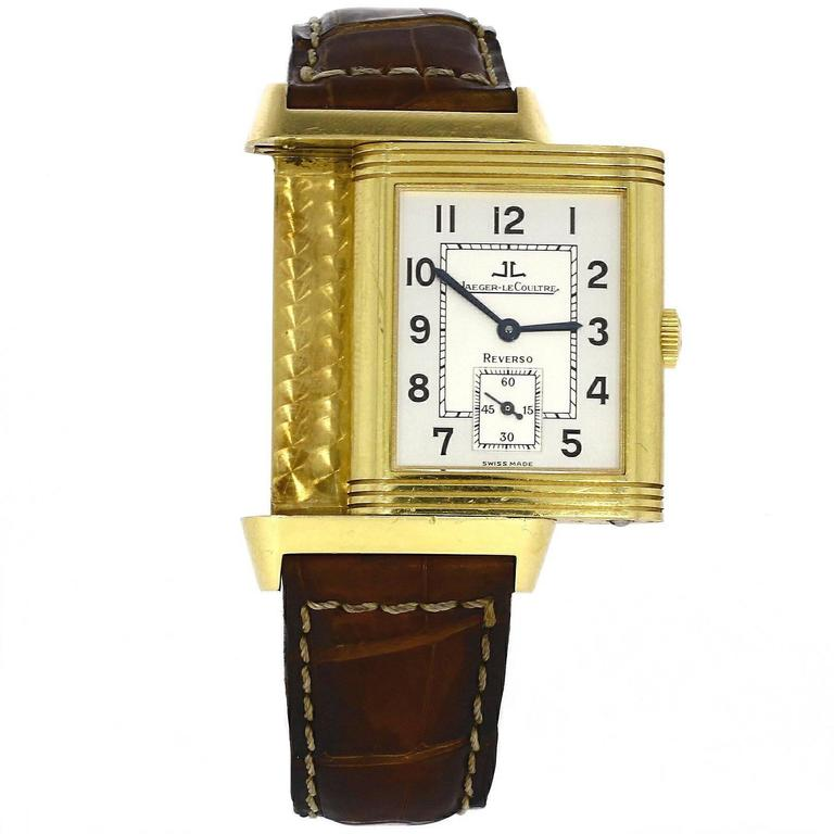 Jaeger LeCoultre Yellow Gold Reverso Manual Wind Wristwatch