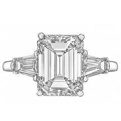 Cartier 3.06 Carat Emerald-Cut Diamond Engagement` Ring