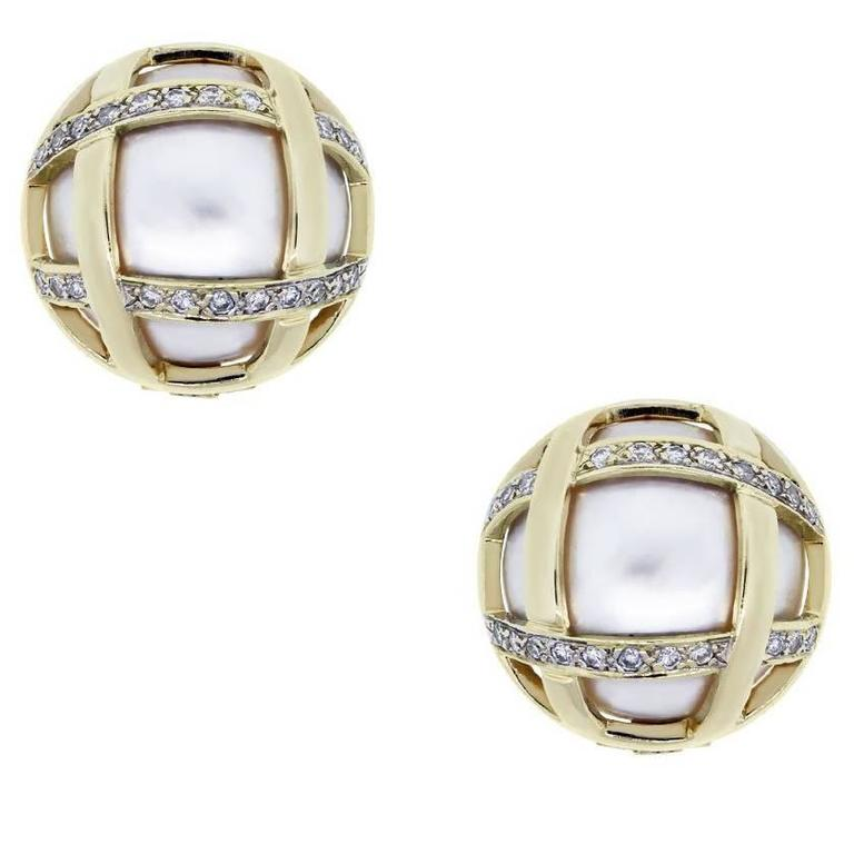 Yellow Gold Pearl Diamond Button Earrings For Sale