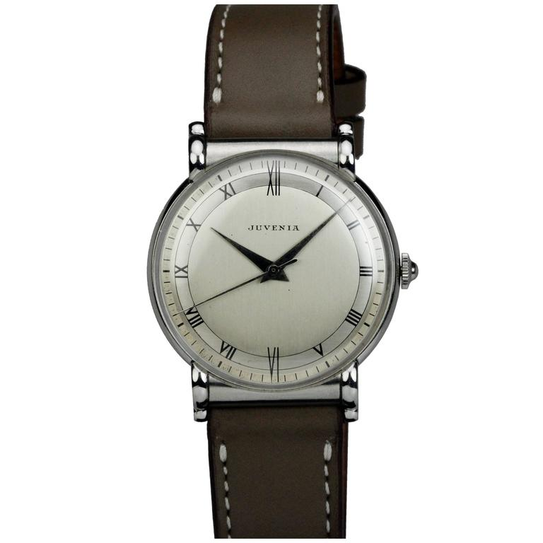 Juvenia Stainless Steel Calatrava Style Manual Wind Wristwatch For Sale