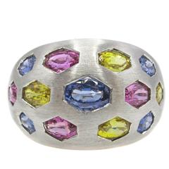 Multicolored Sapphire White Gold Ring
