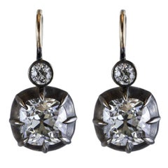 Antique Old Mine Diamond Silver Gold Earrings