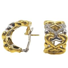 Two Color Diamond Gold Ear Clips