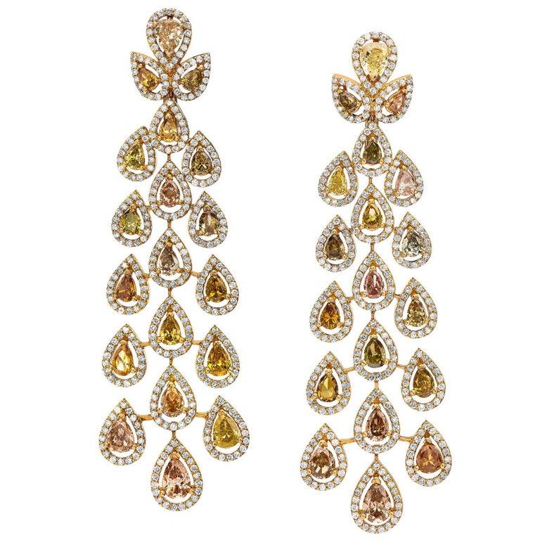 Gorgeous Fancy Color Diamonds Chandelier Earrings