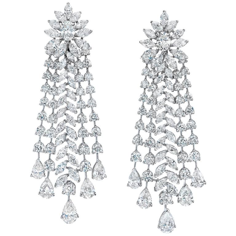 Important Diamond Gold Chandelier Earrings 1