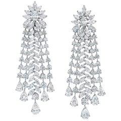 Roman Malakov 27.01 Carat Brilliant Diamond Fringe Style Chandelier Earrings