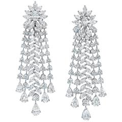 Important Diamond Gold Chandelier Earrings