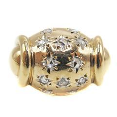 Retro Gold Rose Diamond Ring