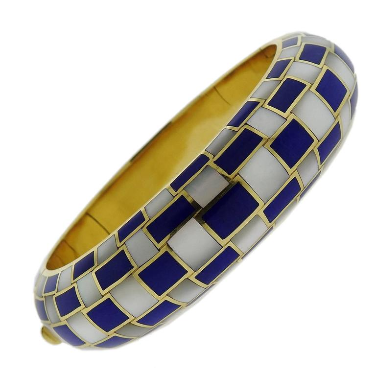 72a078561 Tiffany & Co. Gold Inlay Dyed Blue Coral Mother of Pearl Bangle Bracelet  For Sale