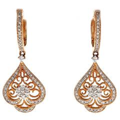 Diamond Filigree Rose Gold Dangle Earrings