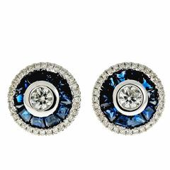 Round Diamond Sapphire Halo Gold Stud Earrings