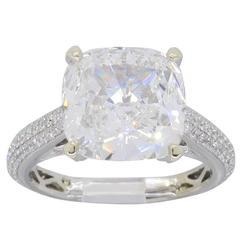 GIA Certified 4.11 Carat Cushion Cut Diamond Engagement Ring