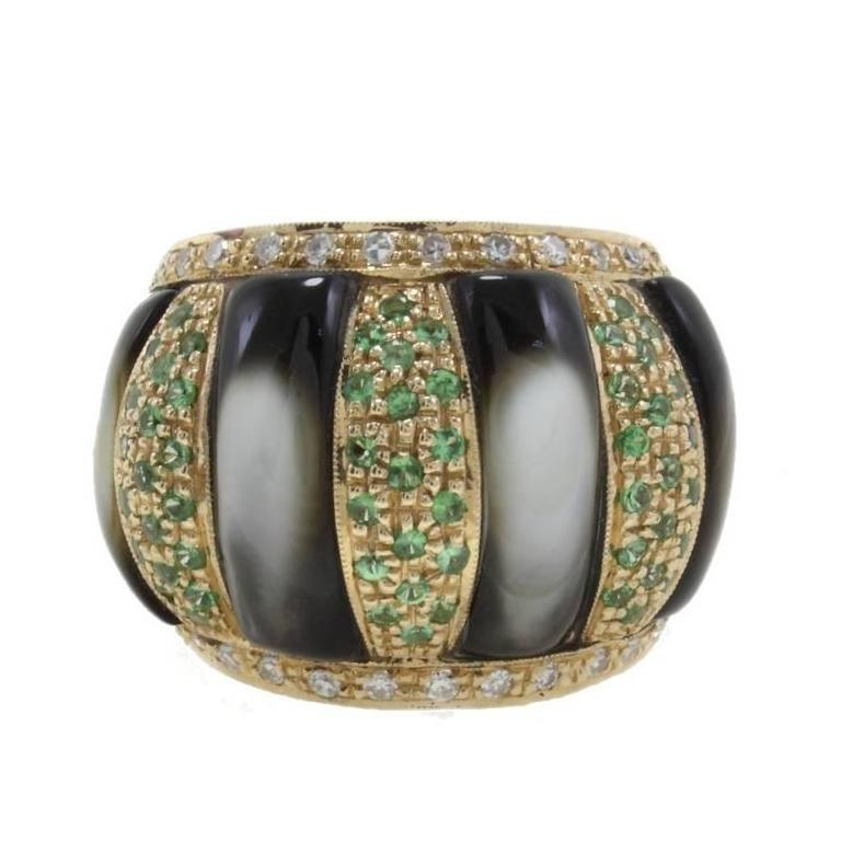 Diamonds, Tsavorite, Grey mother of pearl Dome Gold  Ring