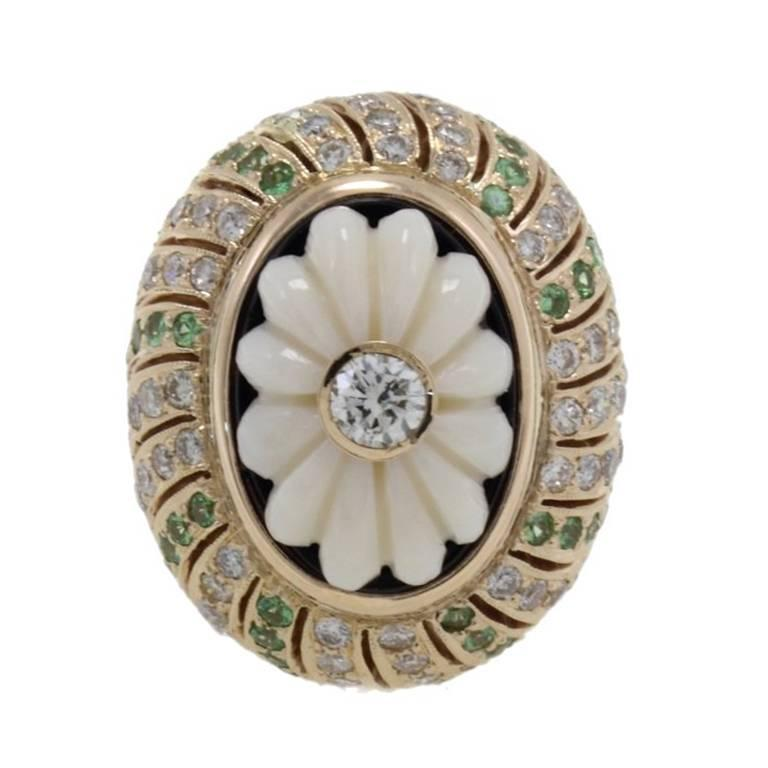 Diamonds Tsavorite Coral Onyx Cluster Gold Ring