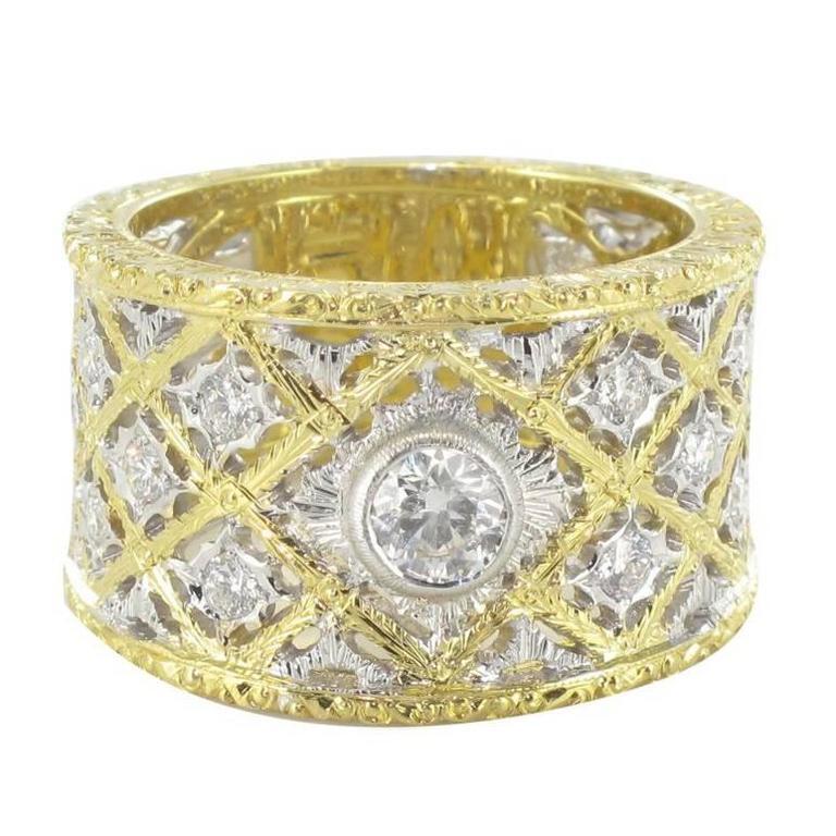 Diamond Gold Filigree Large Band Ring