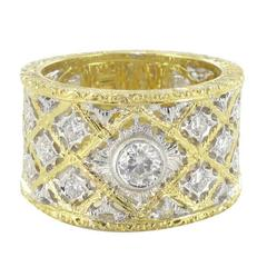 Diamond Gold Filigree Large Band Ring