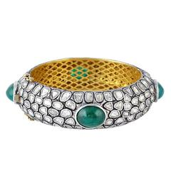 Emerald and Rosecut Diamond Bangle