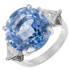 Peter Suchy 15.45 Carat Oval Ceylon Sapphire Diamond Platinum Engagement Ring