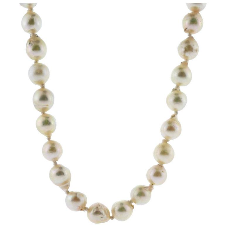 Opera Semi-Baroque Cultured Pearls with Gold Clasp