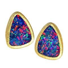 Devta Doolan Violet Blue Opal Doublet Multicolored Fire Confetti Stud Earrings