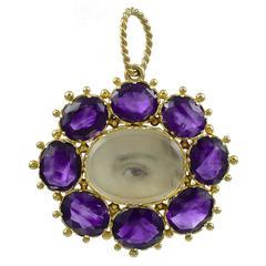 Brilliant Antique Gold Lover's Eye Pendant
