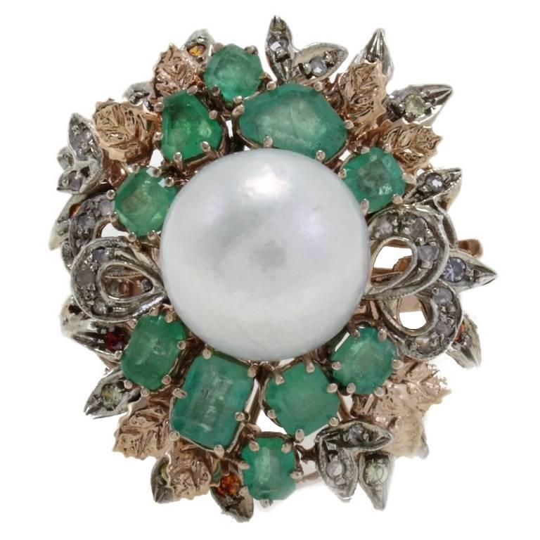 Diamonds Emeralds Colored Stones Pearl Cluster Gold  and Silver Ring