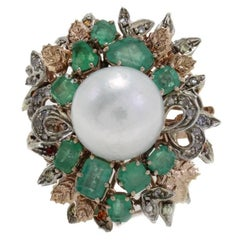 Diamonds Emeralds Colored Stones Australian Pearl Cluster Gold and Silver Ring