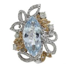 1.03 Carat Diamonds and 5.45 Carat Aquamarine Cocktail Gold Ring