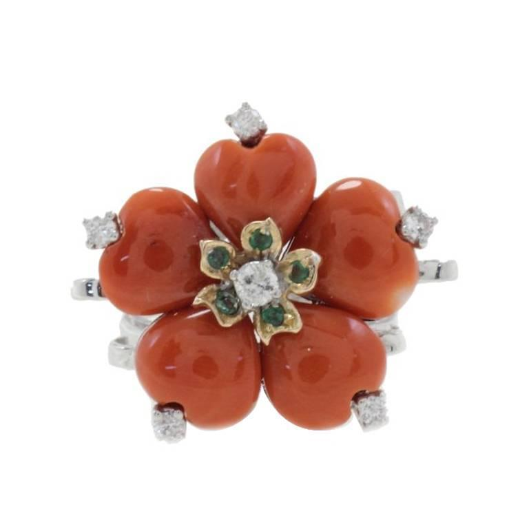 Diamonds Emeralds Coral Fashion Gold Ring