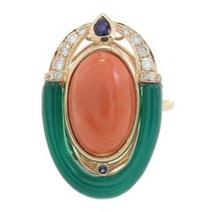 Luise Diamonds Blue Sapphire Green Agate Coral Cocktail Ring