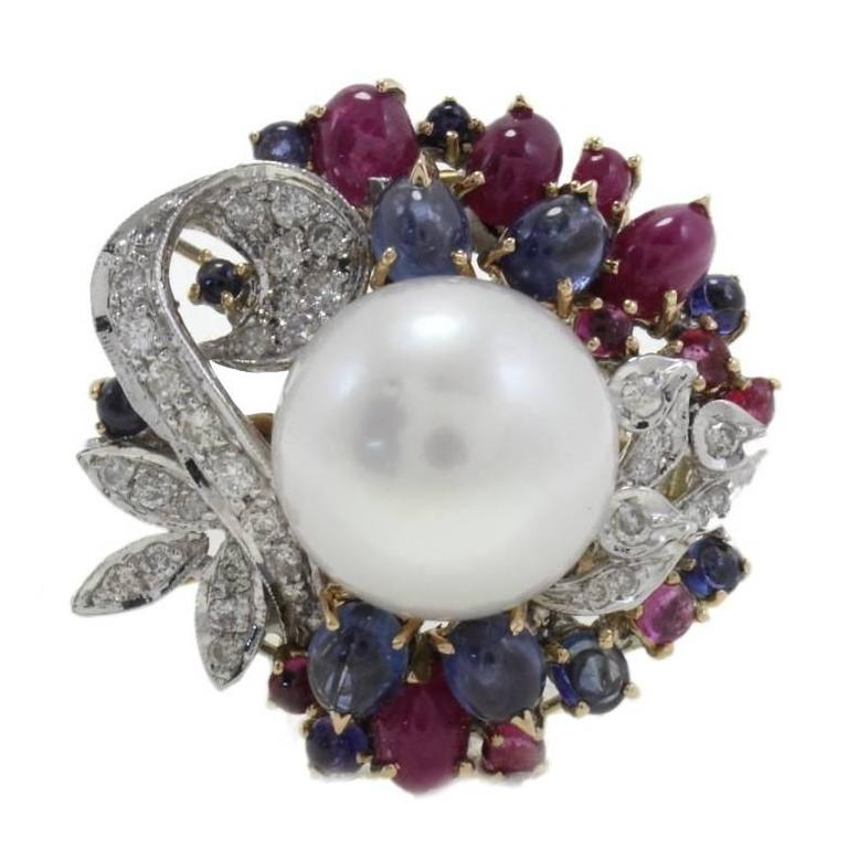 Diamonds Rubies Blue Sapphires Pearl Cluster Gold Ring
