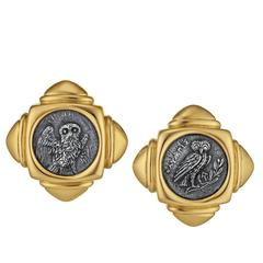 1980s Bulgari Gold Earrings with 3rd Century BC Roman Coins