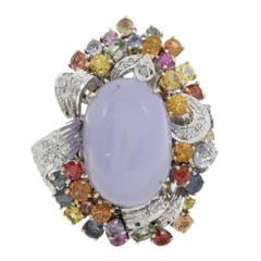 Diamonds Multicolr Sapphires Chalcedony Cluster Gold  Ring