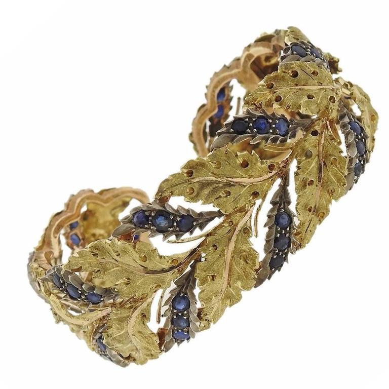 1960s Buccellati Gold Silver Sapphire Leaf Motif Cuff Bracelet