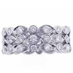 New Tiffany & Co Jazz Three Row Diamond Band Ring