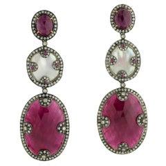 Red Stone Diamond Earring