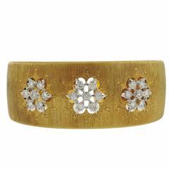 Mario Buccellati Classic Gold Diamond Cuff Bracelet
