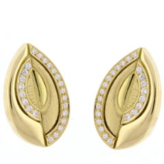 Burle-Marx Diamond Gold Free Form Earrings