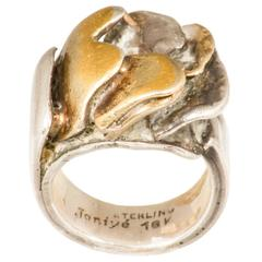 Brutalist Mid-Century Gold and Silver Ring by Miye Matsuka