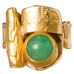 Modernist Mid Century Gold Ring with Jade