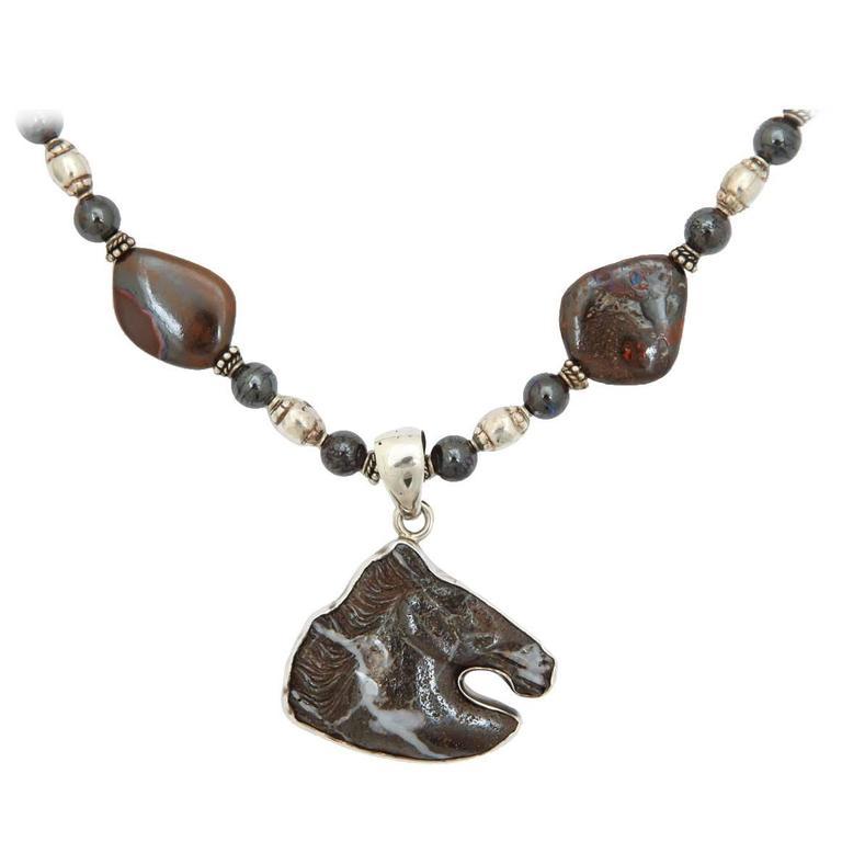 Boulder Opal Silver Horse Head Necklace