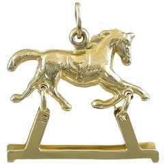 Gold Mechanical Rocking Horse Charm