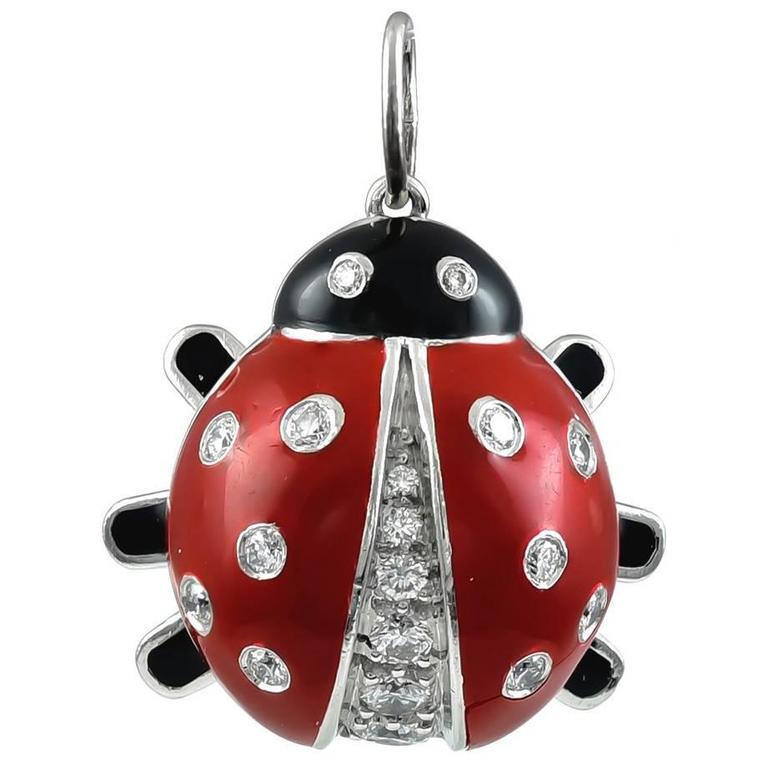Tiffany & Co. Platinum Diamond Enamel Ladybug Charm