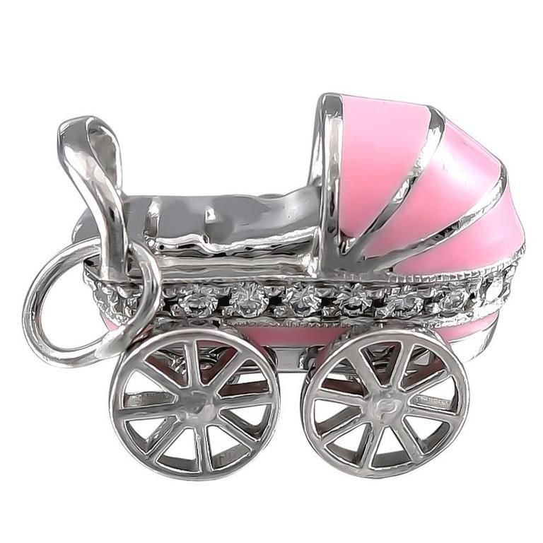 Tiffany & Co. Diamond Enamel Platinum Baby Carriage Charm