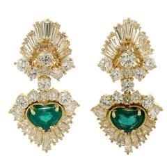1990s 2.48 Carat Emerald and 7.05 Carat Diamond Yellow Gold Clip on Earrings