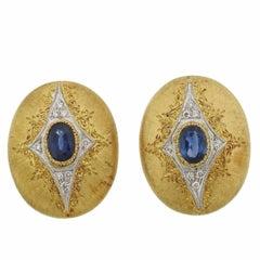 Mario Buccellati Gold Sapphire Diamond Earrings